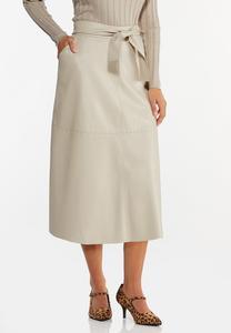 Plus Size Faux Leather Midi Skirt