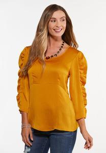 Golden Ruffled Sleeve Top