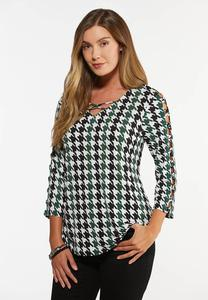 Plus Size Lattice Houndstooth Top