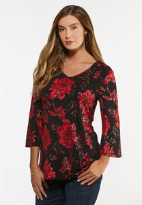 Plus Size Foiled Floral Top