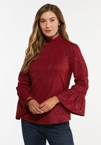 Plus Size Merlot Foiled Smocked Top