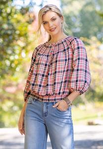 Rose Plaid Smocked Top