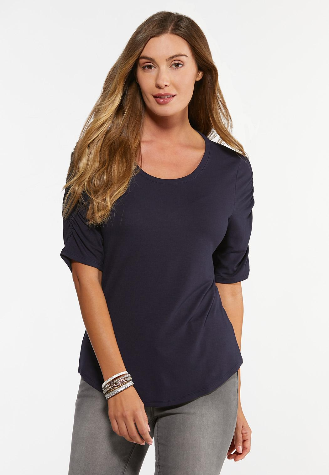 Plus Size Cinched Sleeve Top