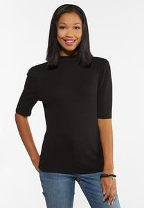 Plus Size Puff Sleeve Mock Neck Top