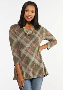 Plus Size Plaid Babydoll Top