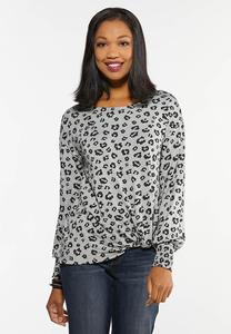 Plus Size Twisted Leopard Top
