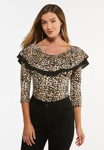 Plus Size Ruffled Leopard Bodysuit