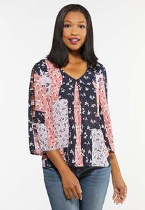 Plus Size Floral Patchwork Top