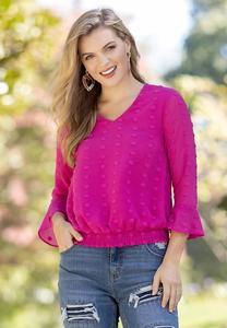 Plus Size Fuschia Textured Dot Top