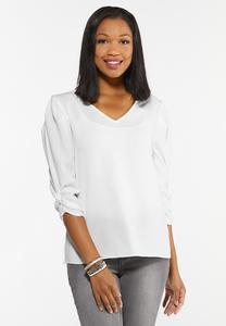 Plus Size White Puff Sleeve Top