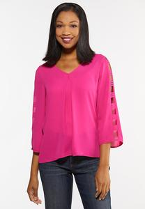 Plus Size Fuchsia Ladder Sleeve Top