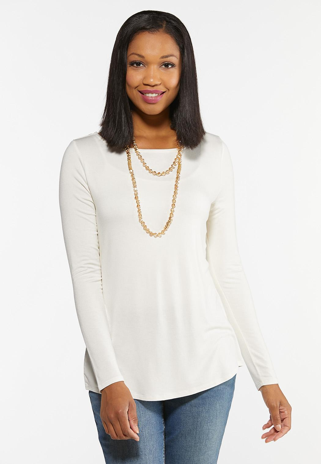Plus Size Solid Boatneck Top