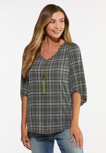 Plus Size Plaid Balloon Sleeve Top