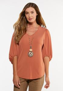 Plus Size Solid Balloon Sleeve Top