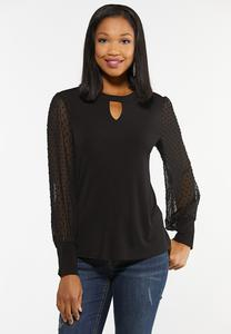 Plus Size Clip Dot Sleeve Top