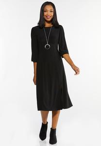 Plus Size Black Midi Dress