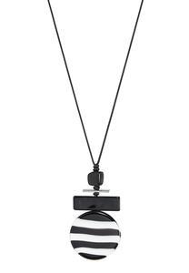 Striped Lucite Pendant Cord Necklace