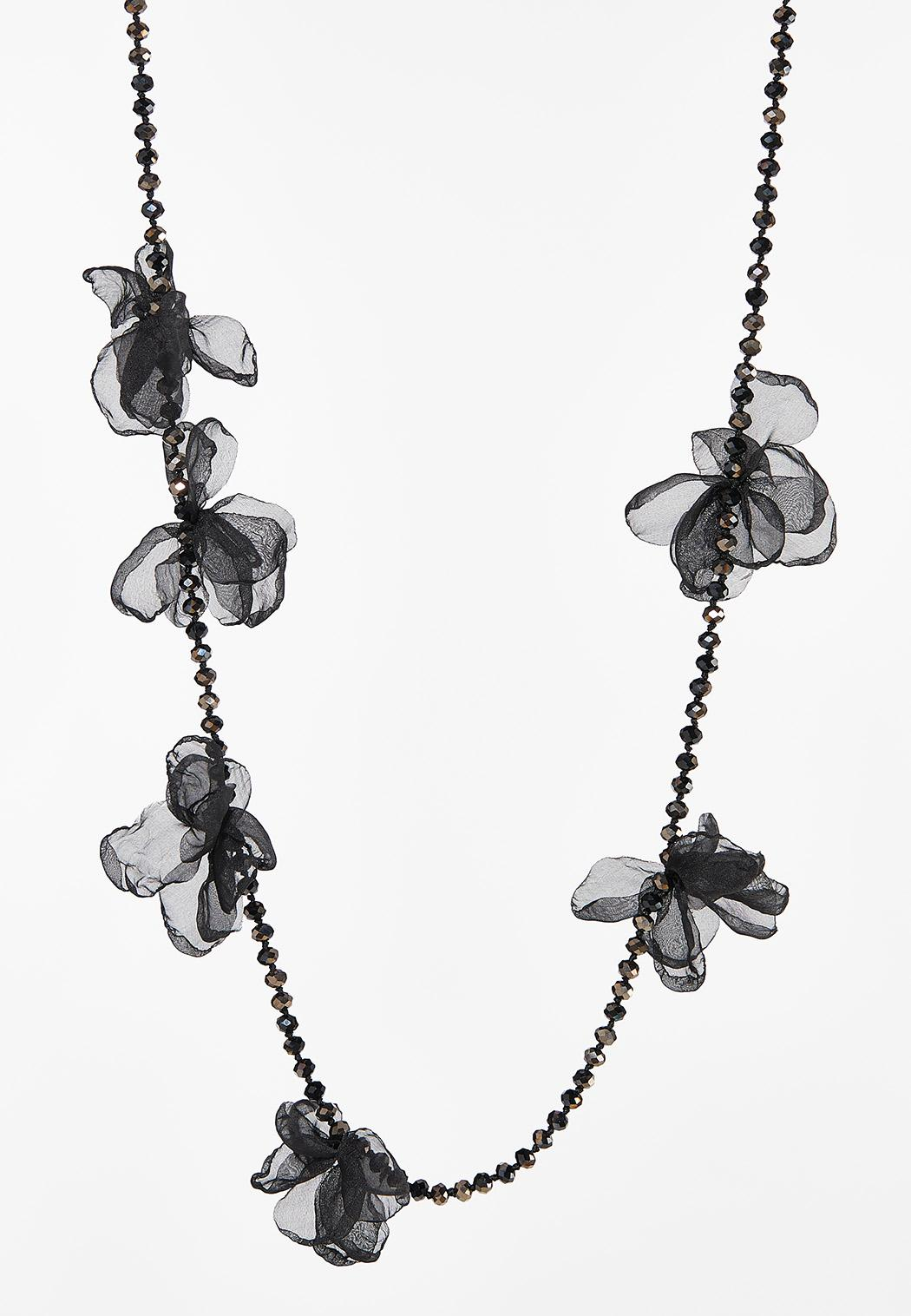 Chiffon Petal Beaded Necklace