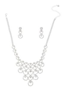 Rhinestone Bib Necklace Set