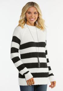 Plus Size Striped Mock Neck Sweater