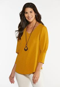 Plus Size Gold Puff Sleeve Top