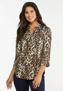 Plus Size Leopard Pullover Top