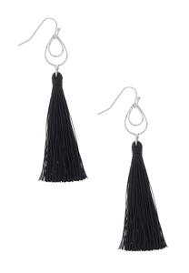 Tear Loop Black Tassel Earrings