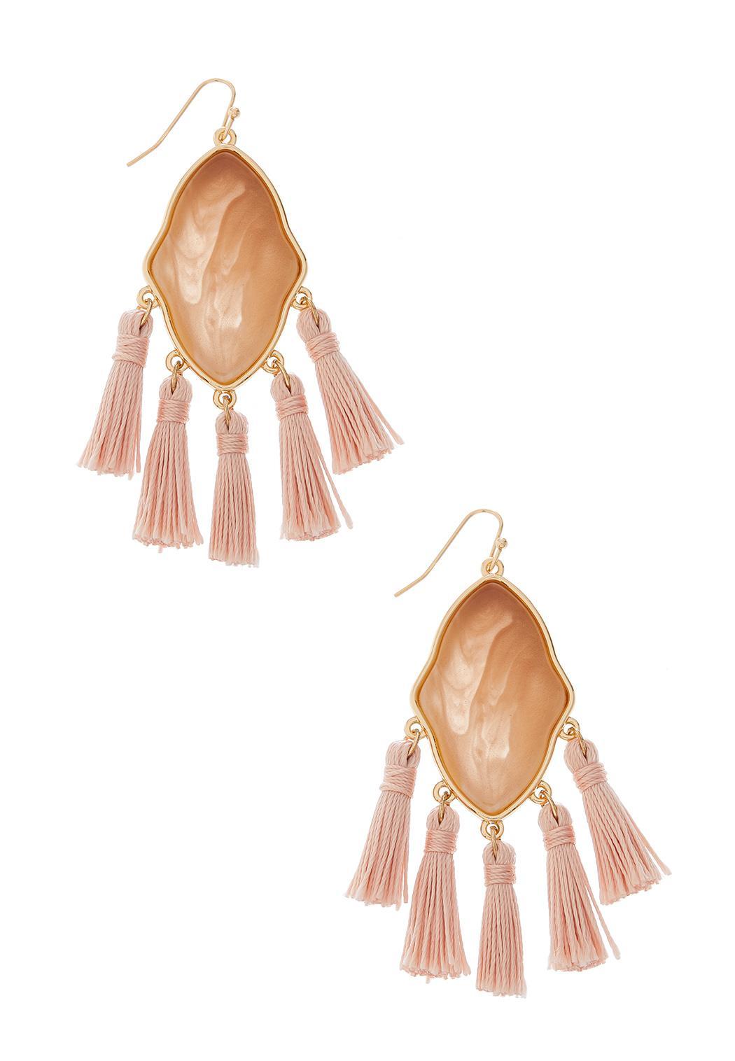 Pink Statement Tassel Earrings