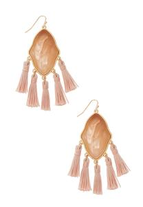 Pink Statement Tassel Earrings