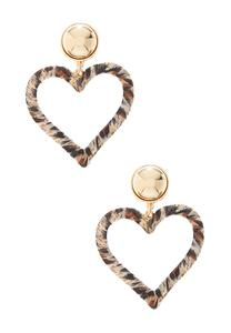 Leopard Fabric Heart Earrings