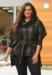 Sequin Embellished Plaid Poncho