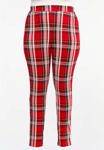 Plus Size Holiday Plaid Ponte Pants