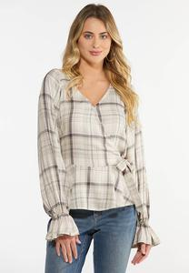 Plus Size Pretty Plaid Faux Wrap Top