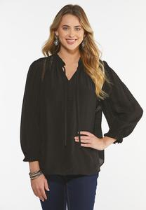 Plus Size Black Ruffled Trim Poet Top