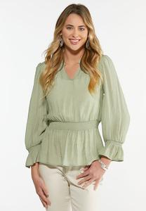 Plus Size Sage Peplum Top