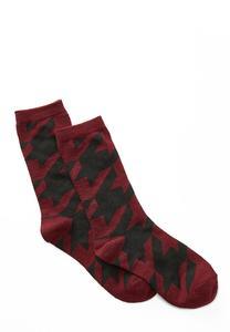 Wine Houndstooth Socks