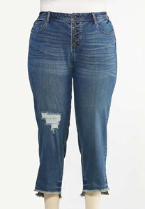 Plus Size Distressed Ankle Jeans