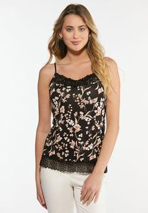 Plus Size Floral Lace Trim Cami