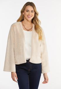 Plus Size Faux Fur Open Jacket