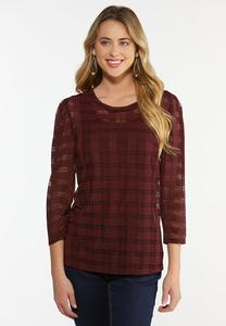 Plus Size Sheer Plaid Top