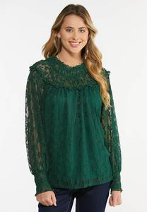 Plus Size Green Lace Poet Top