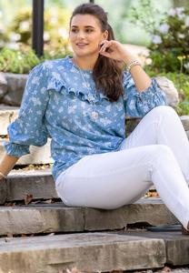 Plus Size Ruffled Floral Chambray Top