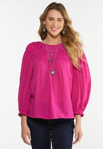 Plus Size Fuchsia Ruched Neck Top