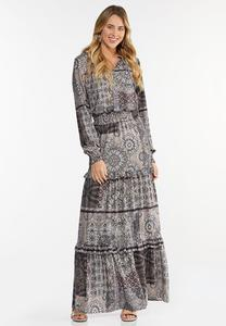 Smocked Patchwork Maxi Dress