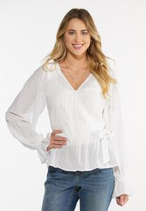 Crinkled Balloon Sleeve Top