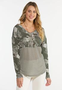 Plus Size Paisley Stripe Baseball Top