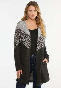 Plus Size Animal Colorblock Cardigan