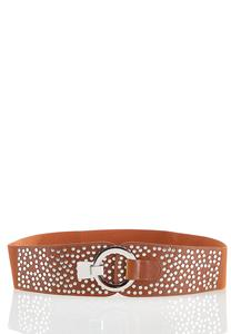 Plus Size Studded Cognac Stretch Belt