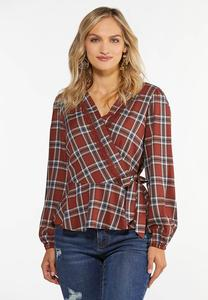 Plus Size Plaid Tie Peplum Top