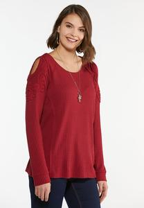 Plus Size Waffle Cold Shoulder Top